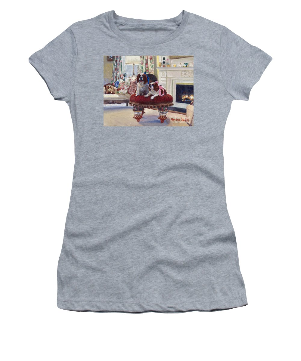 King Charles Spaniels Women's T-Shirt (Athletic Fit) featuring the painting Charlie And Lizzie by Candace Lovely