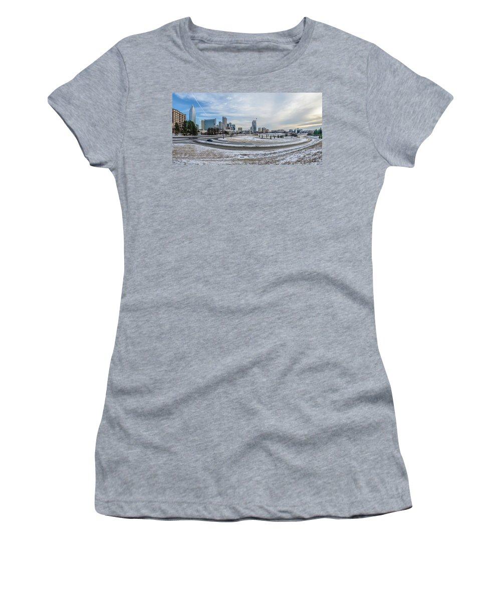 Rare Women's T-Shirt featuring the photograph Charlotte North Carolina Skyline In Winter by Alex Grichenko