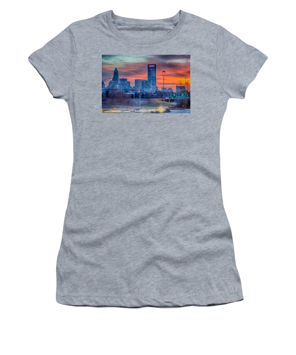 Charlotte Women's T-Shirt featuring the photograph Charlotte The Queen City Skyline At Sunrise by Alex Grichenko