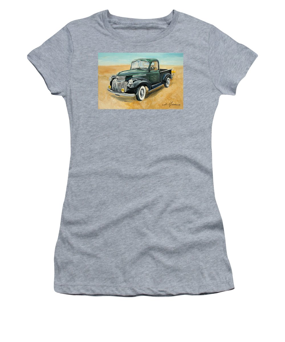 Chevrolet Women's T-Shirt (Athletic Fit) featuring the painting Chevrolet Art Deco Truck by Luke Karcz
