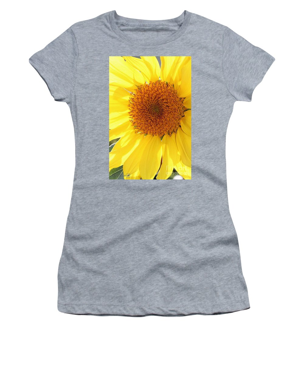 Mccombie Women's T-Shirt featuring the painting Chipmunk's Peredovik Sunflower by J McCombie