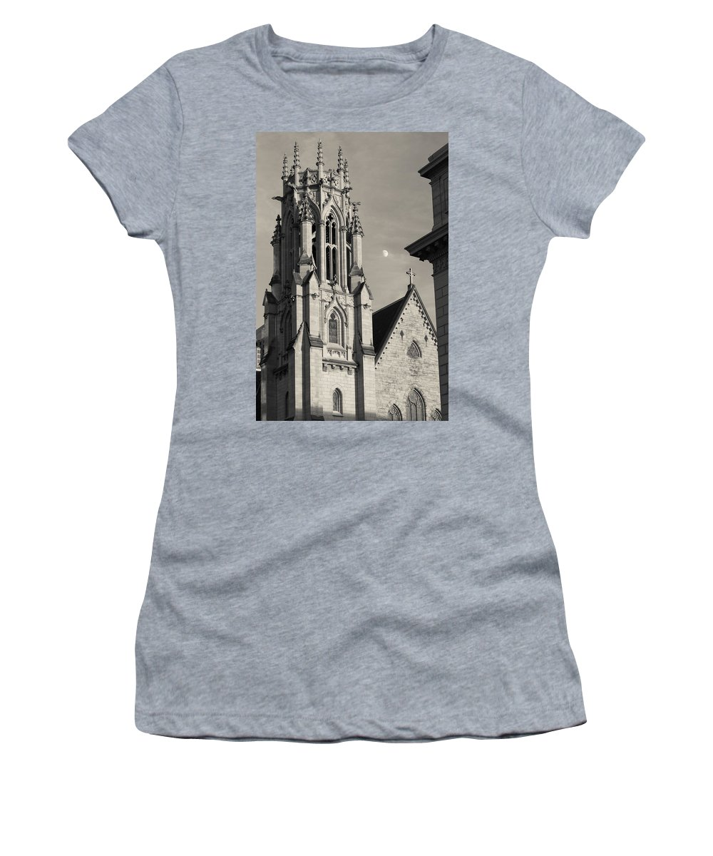 St. Louis Women's T-Shirt featuring the photograph Christ Church Cathedral And Moon by Scott Rackers