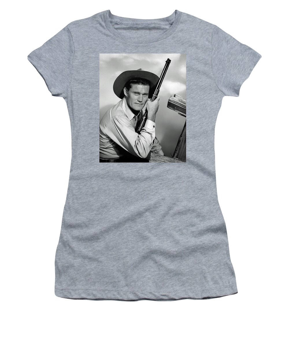 Chuck Connors Women's T-Shirt featuring the photograph Chuck Connors - The Rifleman by Mountain Dreams