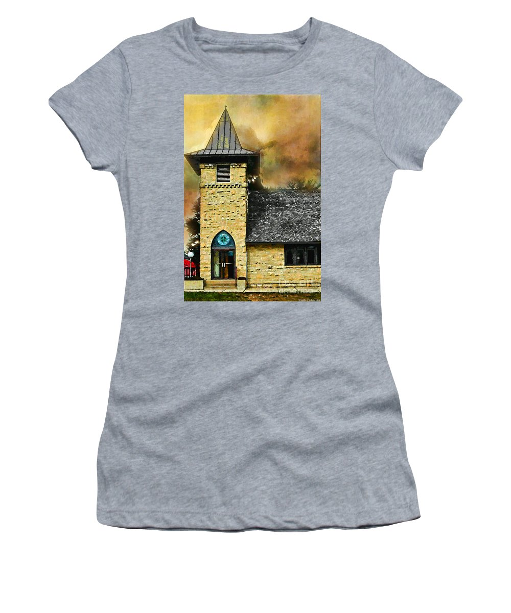 Arcitectur Women's T-Shirt (Athletic Fit) featuring the photograph Church Painted Effect by Debbie Portwood