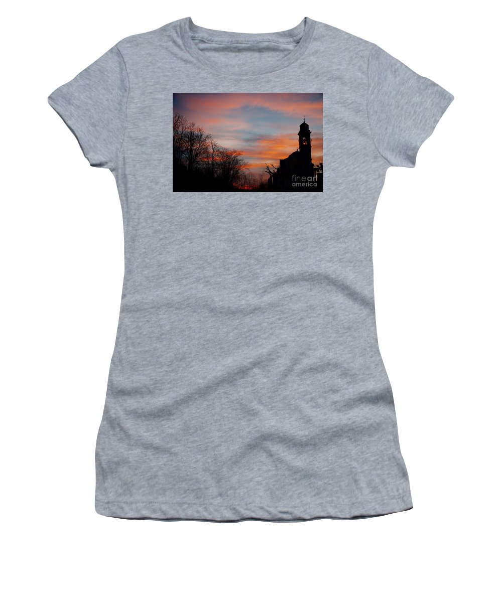 Church Women's T-Shirt featuring the photograph Church With Orange Sky by Mats Silvan