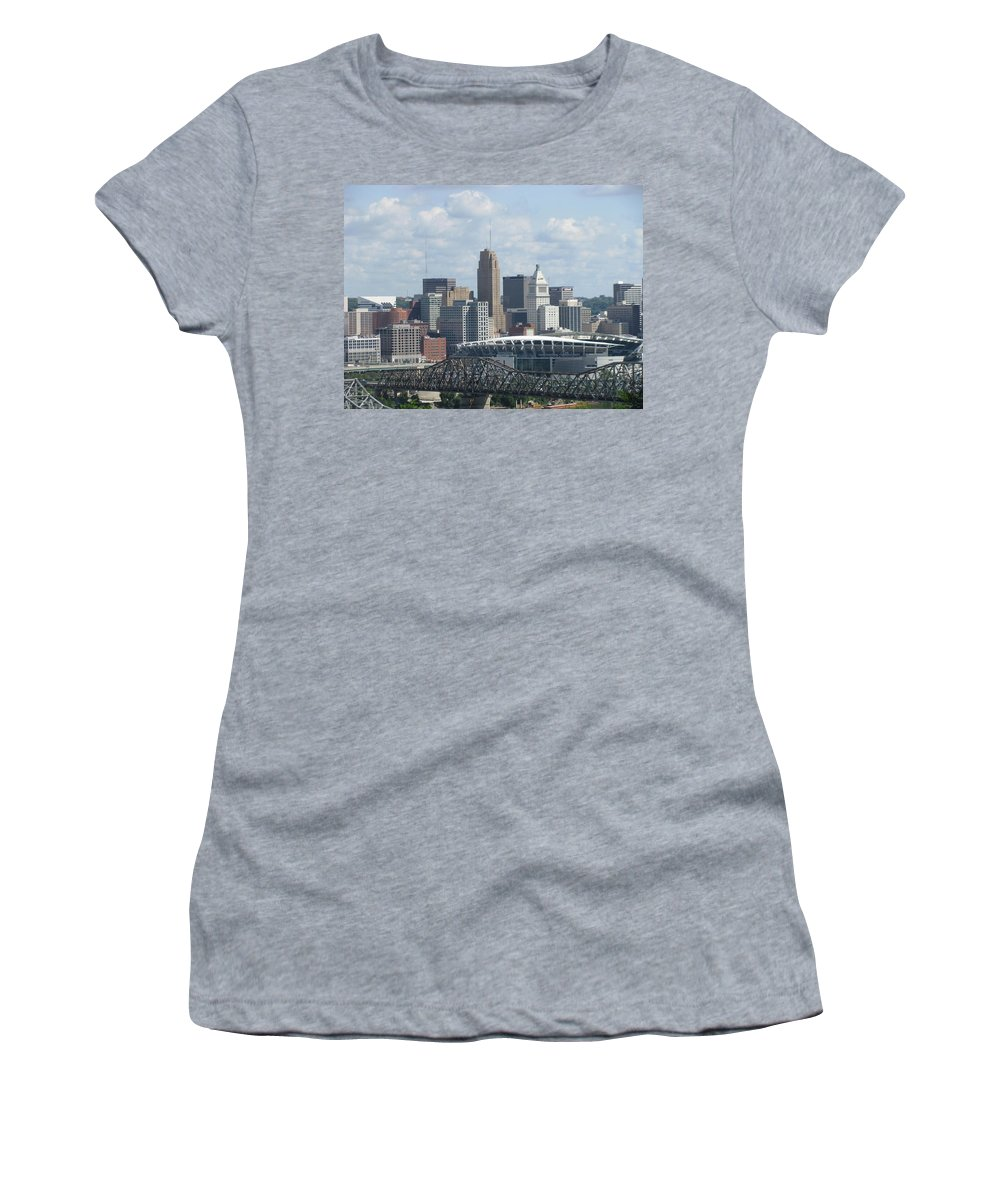 Cityscape Women's T-Shirt featuring the photograph Cincinnati Cityscape by Ellen Meakin
