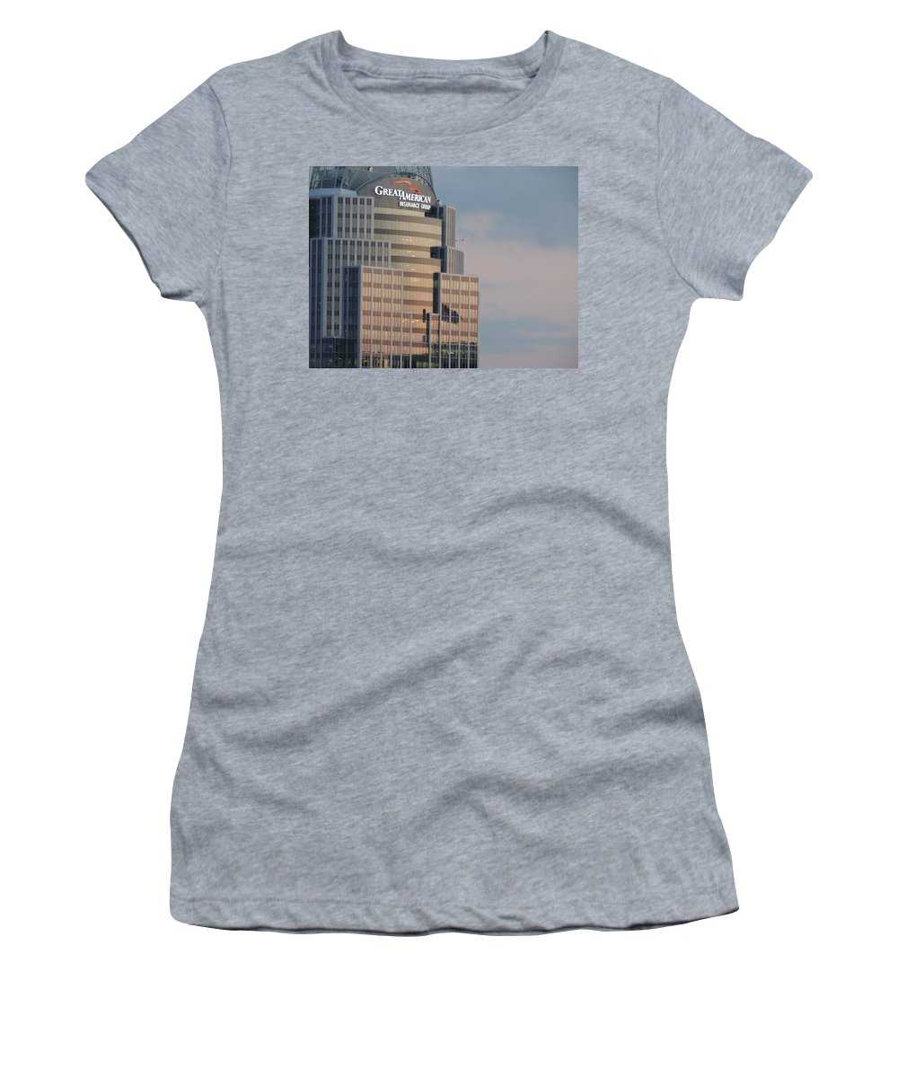 City Women's T-Shirt featuring the photograph Cincinnati Skyline At Sunset Form The Top Of Mount Adams 3 by Cityscape Photography