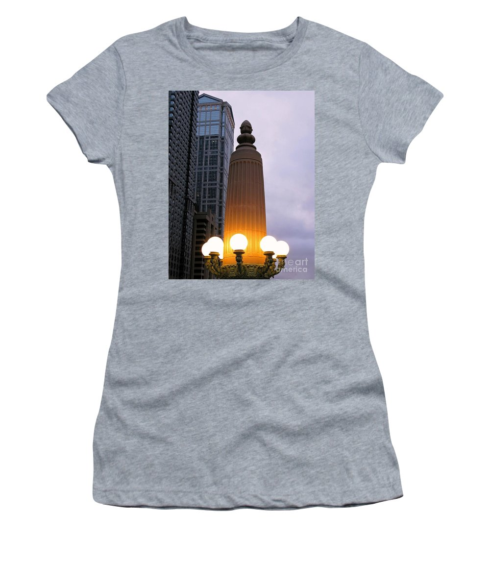 Chicago Women's T-Shirt (Athletic Fit) featuring the photograph City At Twilight by Ann Horn