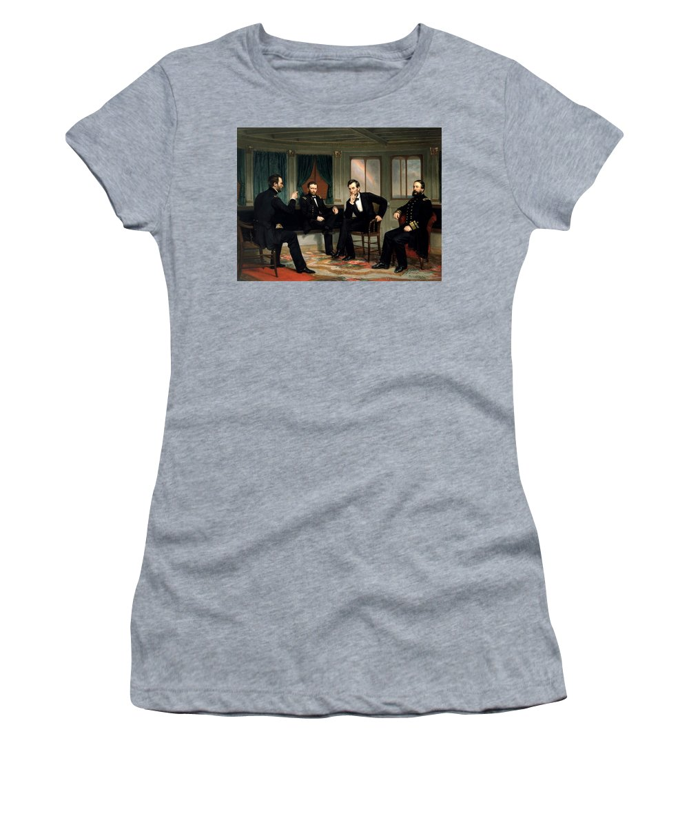 Civil War Women's T-Shirt (Athletic Fit) featuring the painting Civil War Union Leaders -- The Peacemakers by War Is Hell Store