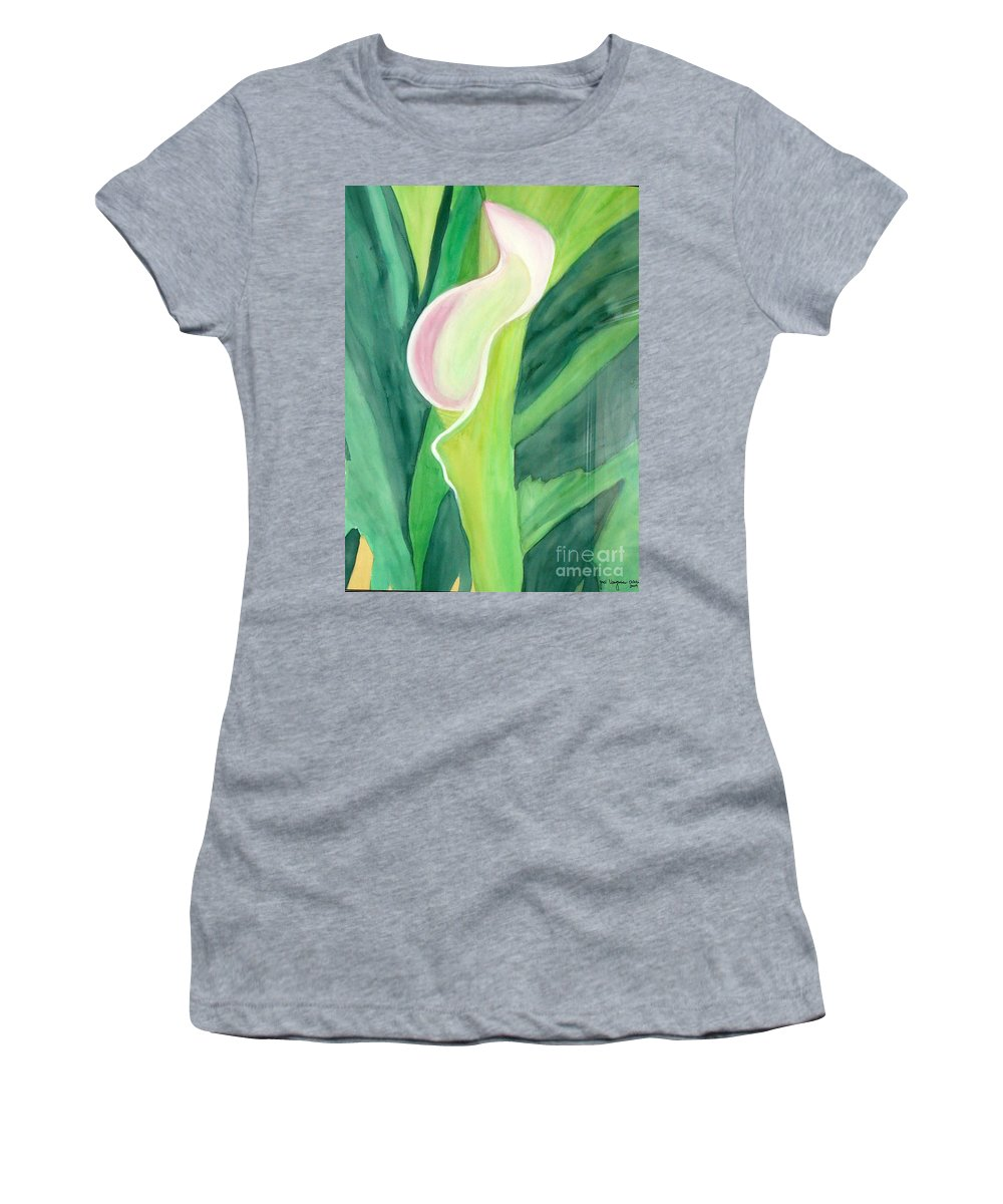 White Flower Women's T-Shirt (Athletic Fit) featuring the painting Classic Flower by Yael VanGruber
