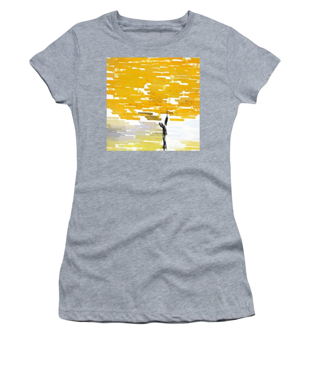 Yellow Women's T-Shirt (Athletic Fit) featuring the painting Classy Yellow Tree by Lourry Legarde