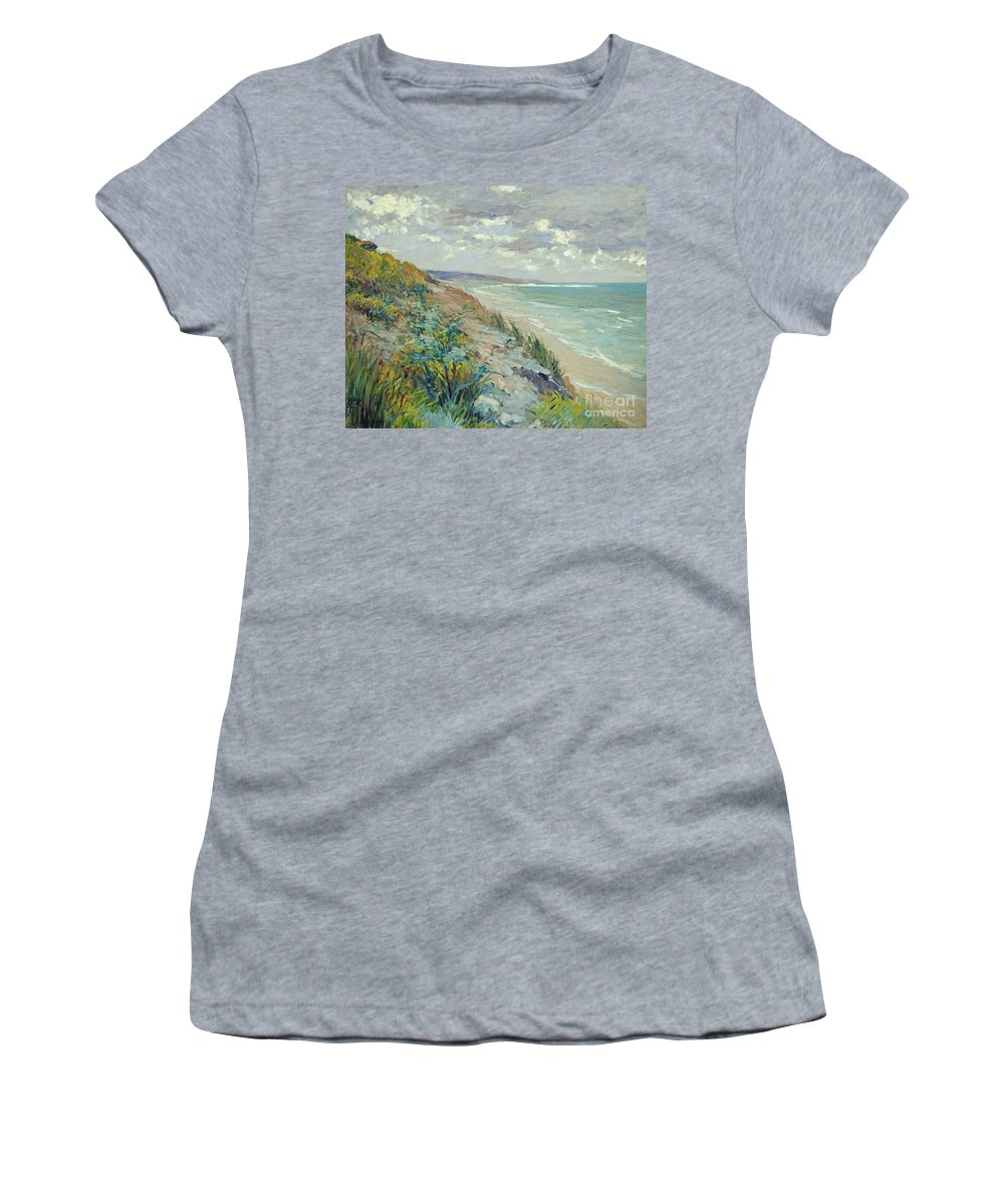 Beach Women's T-Shirt (Athletic Fit) featuring the painting Cliffs By The Sea At Trouville by Gustave Caillebotte