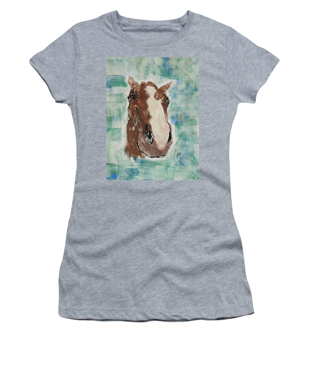 Horse Women's T-Shirt (Athletic Fit) featuring the mixed media Close Up by Cori Solomon
