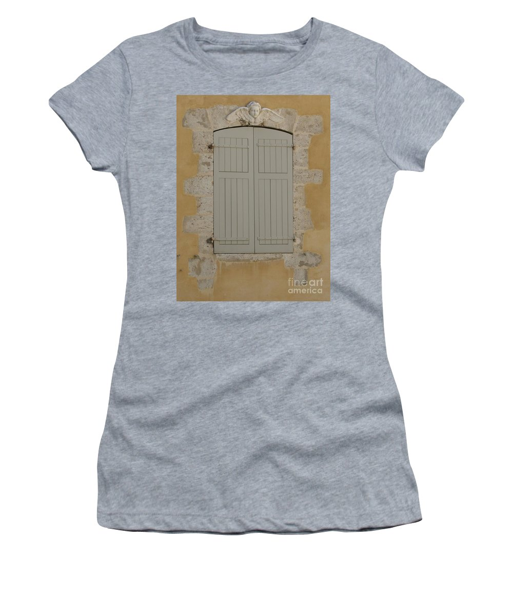 Window Women's T-Shirt (Athletic Fit) featuring the photograph Closed Shutters by Christine Jepsen