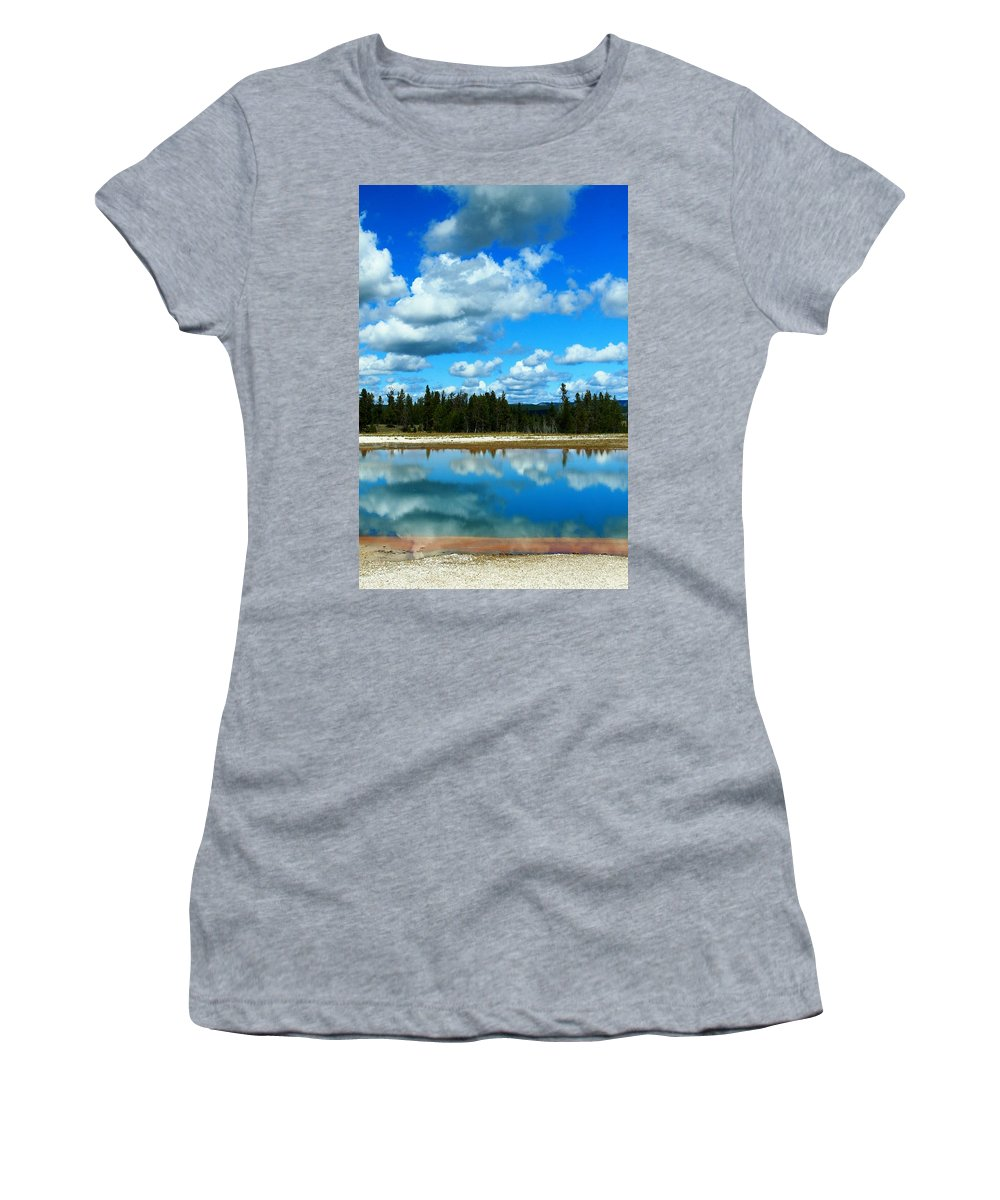Yellowstone National Park Women's T-Shirt featuring the photograph Cloud Reflections by Catie Canetti