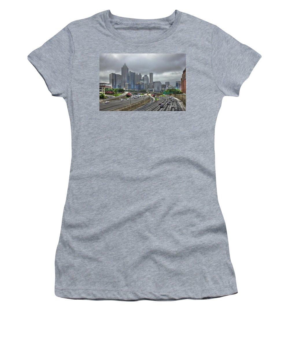 Reid Callaway City Of Atlanta Women's T-Shirt featuring the photograph Cloudy Atlanta Capital Of The South by Reid Callaway
