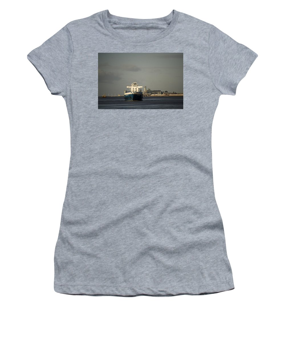 Cargo Ship Women's T-Shirt featuring the photograph Coastal Deniz by Spikey Mouse Photography