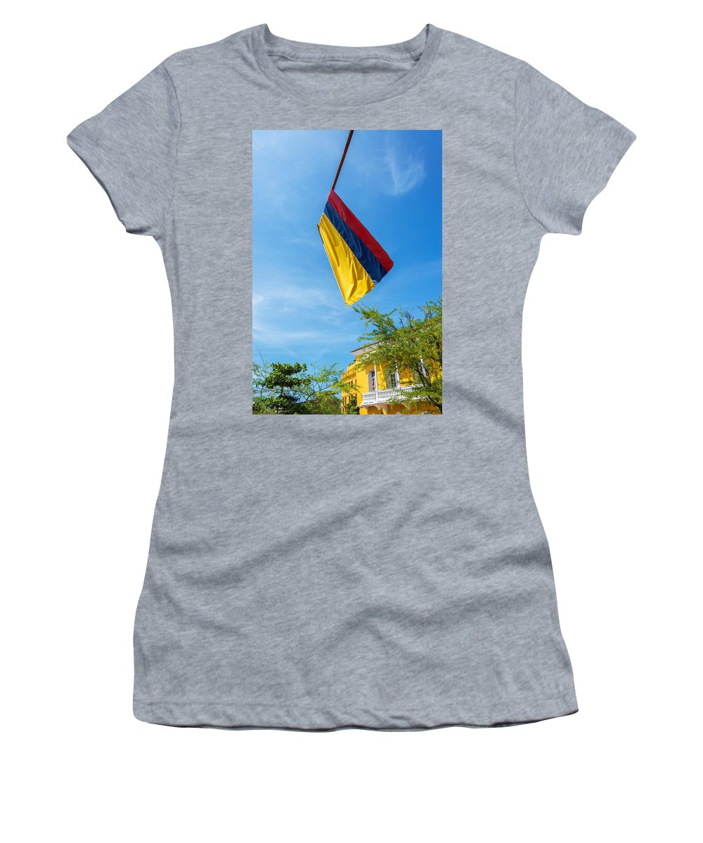 Colombia Women's T-Shirt featuring the photograph Colombian Flag And Blue Sky by Jess Kraft