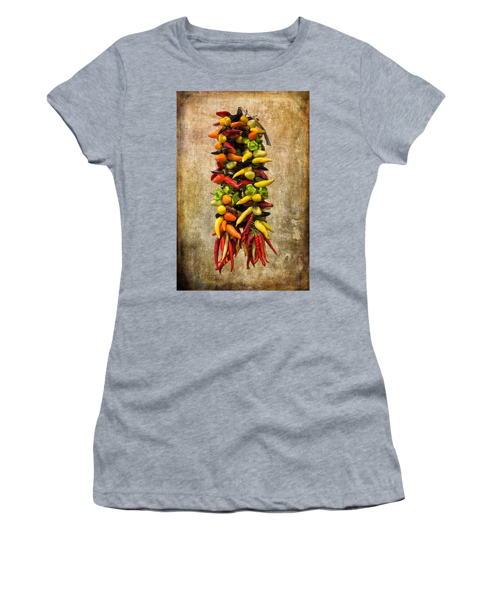 Multi Color Women's T-Shirt featuring the photograph Color Peppers From Spain With Textured Background Dsc01467 by Greg Kluempers