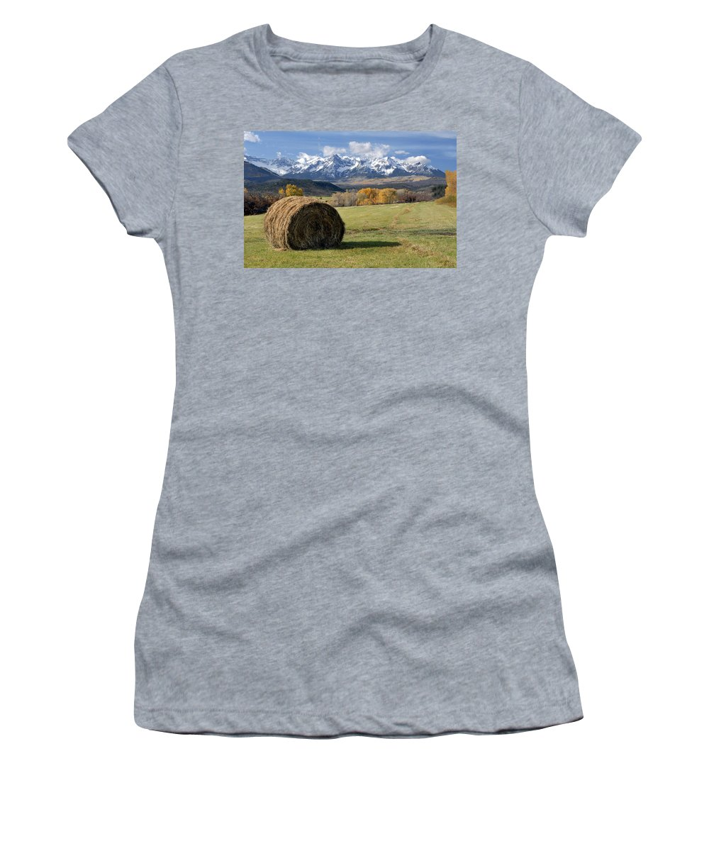 Colorado Women's T-Shirt featuring the photograph Colorado Haybale by Dave Mills