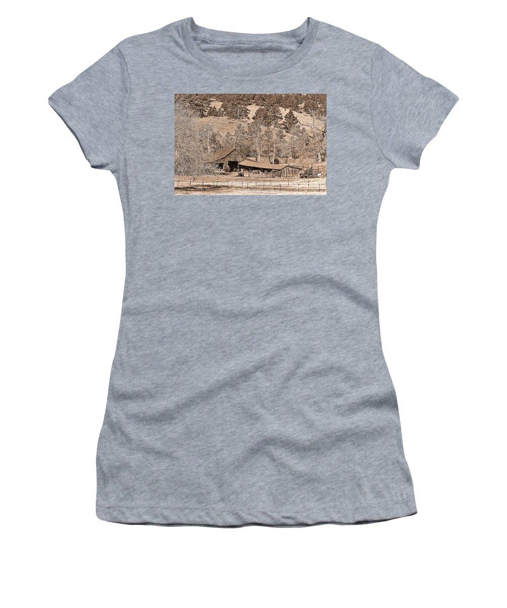 Barn Women's T-Shirt featuring the photograph Colorado Rocky Mountain Barn Sepia by James BO Insogna
