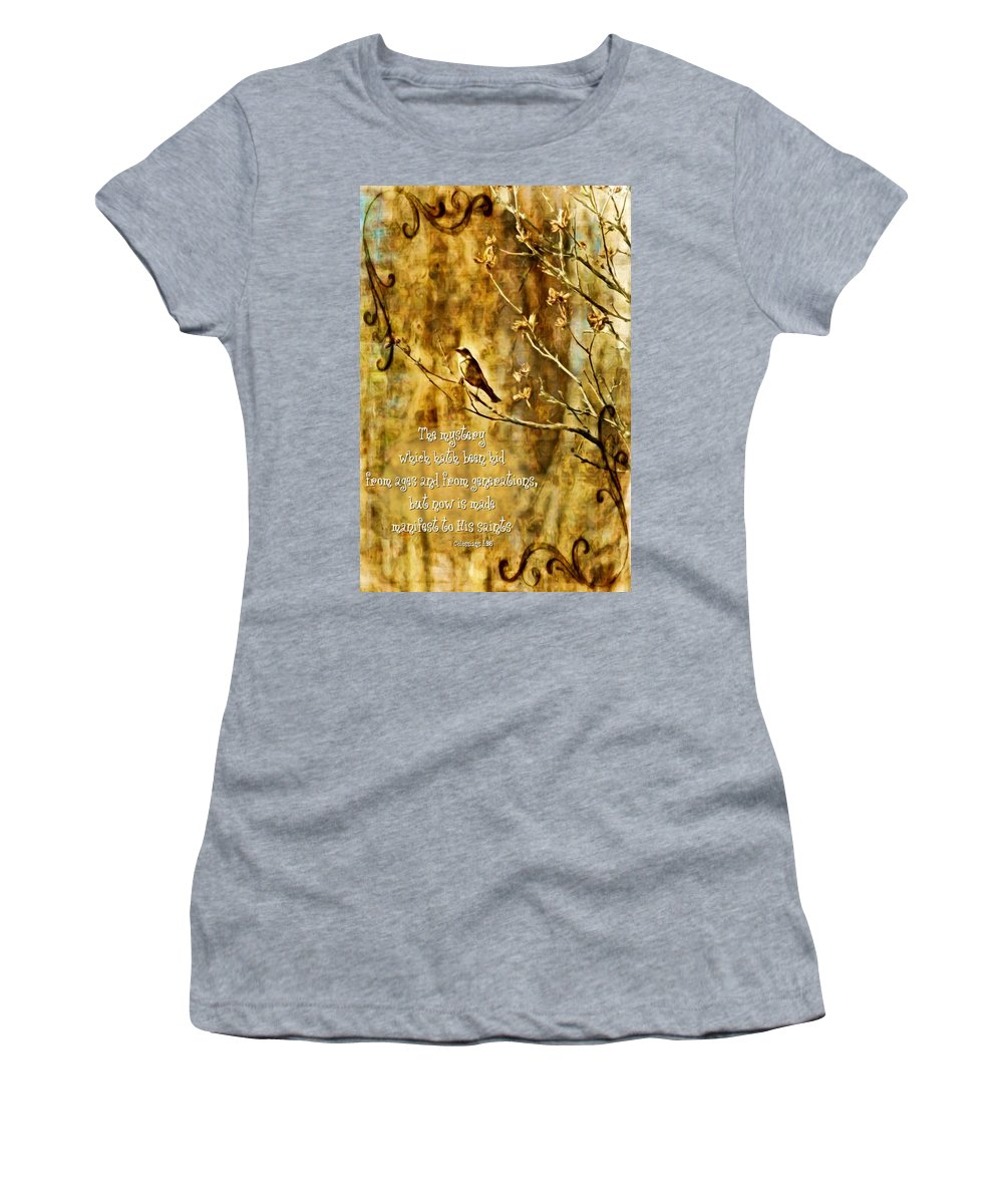 Jesus Women's T-Shirt featuring the digital art Colossians 1 26 by Michelle Greene Wheeler