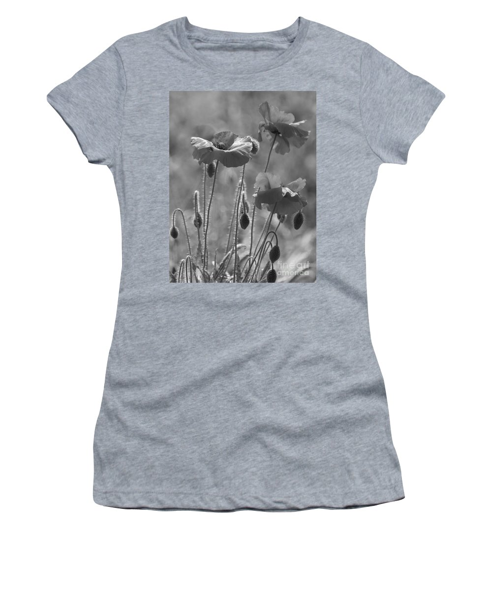 Poppies Women's T-Shirt featuring the photograph Colour Blind Poppies 1 by Carol Lynch