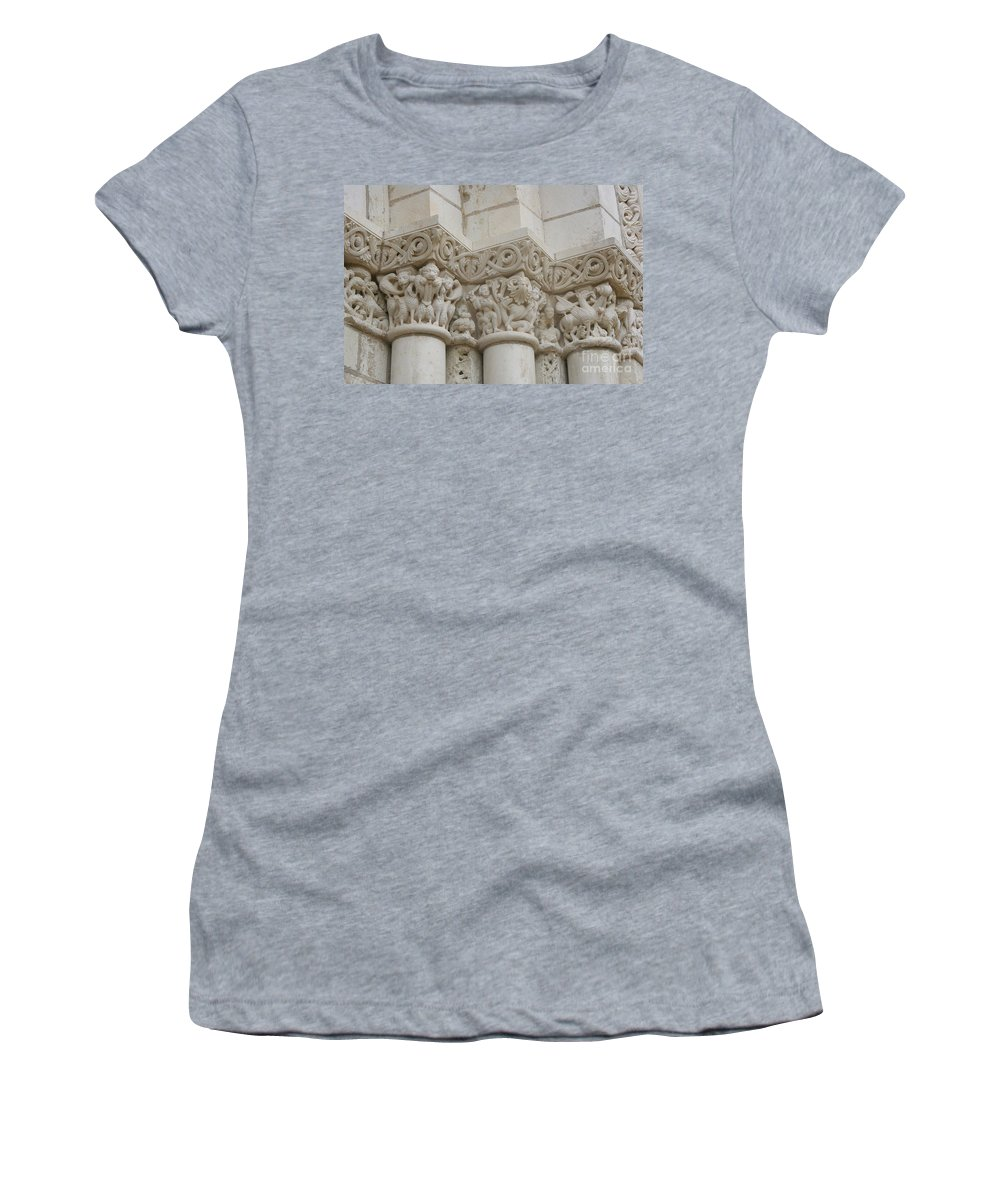 Frieze Women's T-Shirt (Athletic Fit) featuring the photograph Column Relief Abbey Fontevraud by Christiane Schulze Art And Photography