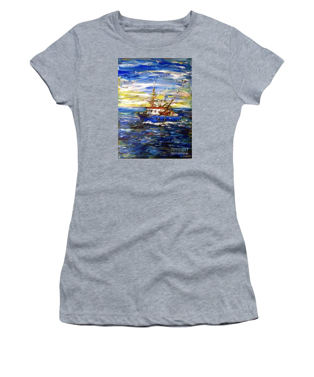 Fishing Boat Women's T-Shirt (Athletic Fit) featuring the painting Coming Back by Arturas Slapsys