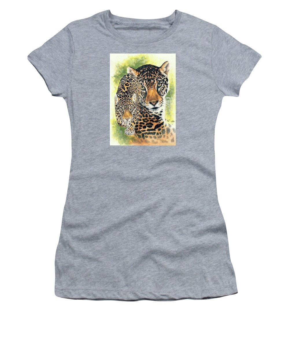 Jaguar Women's T-Shirt (Athletic Fit) featuring the mixed media Compelling by Barbara Keith