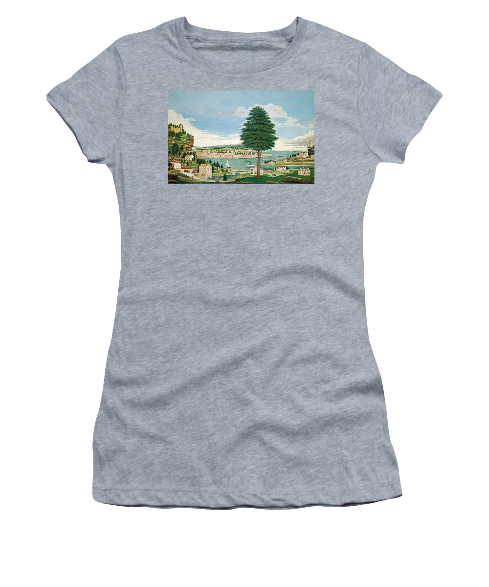 Harbor Women's T-Shirt featuring the painting Composite Harbor Scene With Castle by Jurgen Frederick Huge