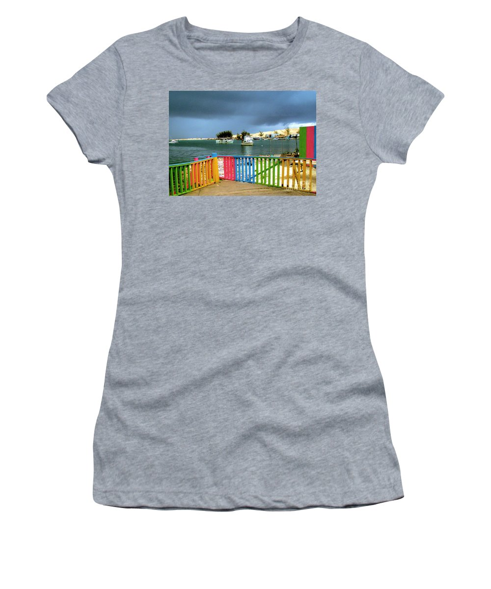 Conch Boat Women's T-Shirt (Athletic Fit) featuring the photograph Conch Boats Arriving by Luther Fine Art
