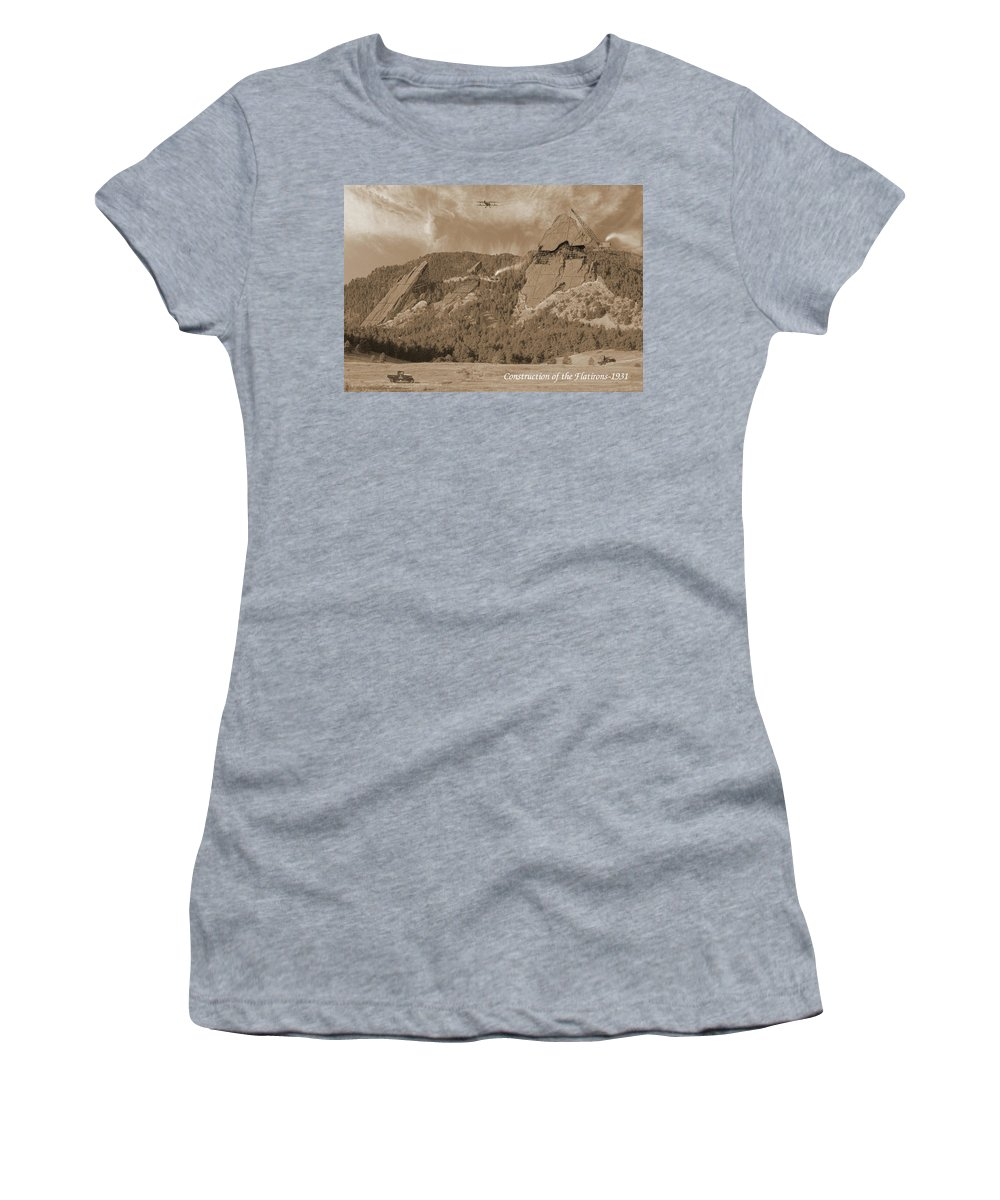 Boulder Women's T-Shirt (Athletic Fit) featuring the photograph Construction Of The Flatirons - 1931 - Sepia by Jerry McElroy