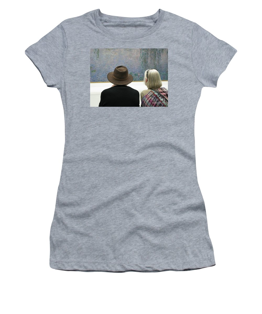 People Women's T-Shirt (Athletic Fit) featuring the photograph Contemplating Art by Ann Horn