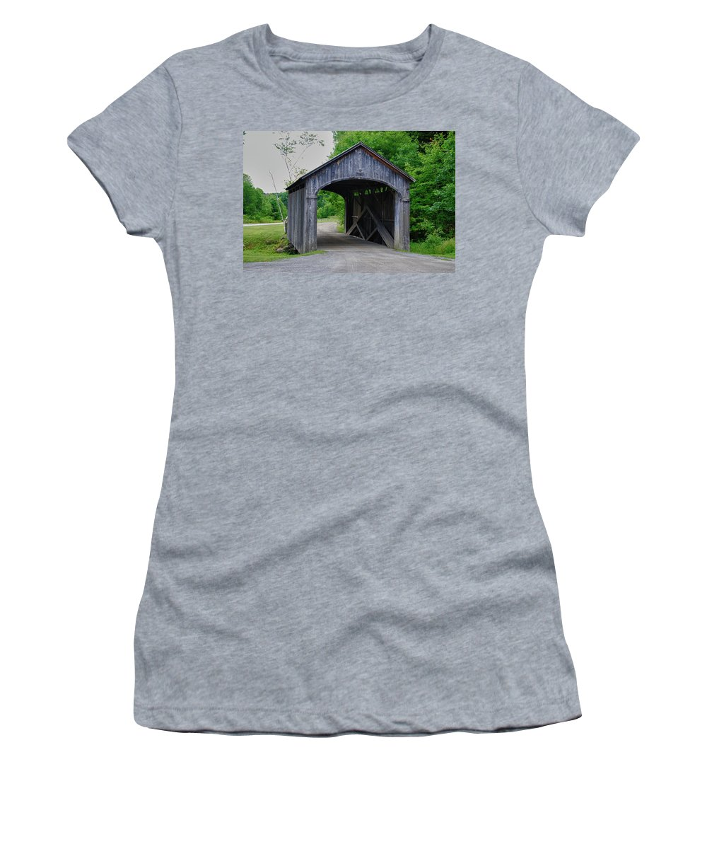 Covered Bridge Women's T-Shirt featuring the photograph Country Store Bridge 5656 by Guy Whiteley