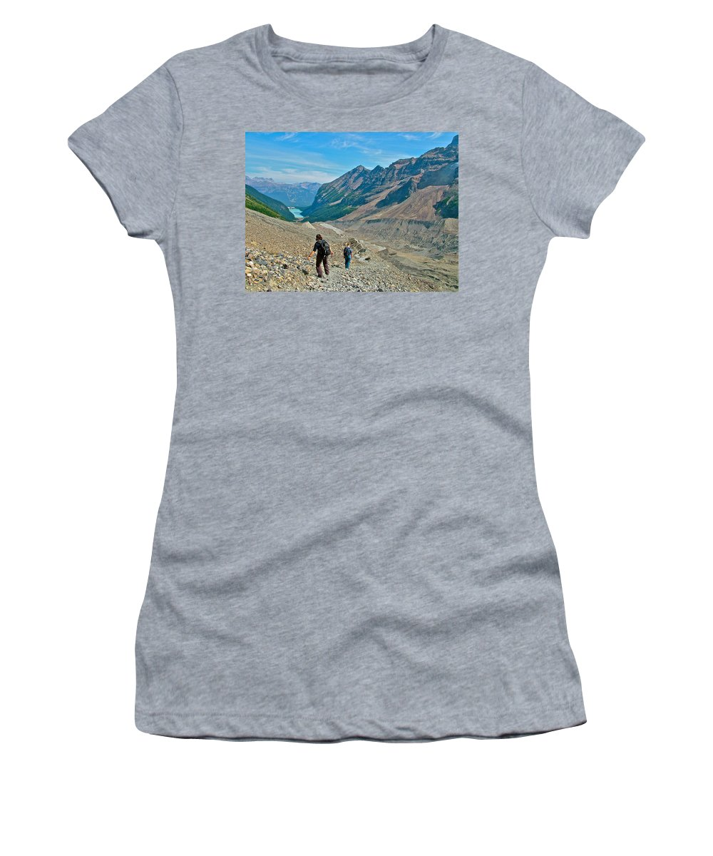 Couple Hiking On Plain Of Six Glaciers In Banff National Park Women's T-Shirt featuring the photograph Couple Hiking On Plain Of Six Glaciers Trail In Banff Np-albert by Ruth Hager