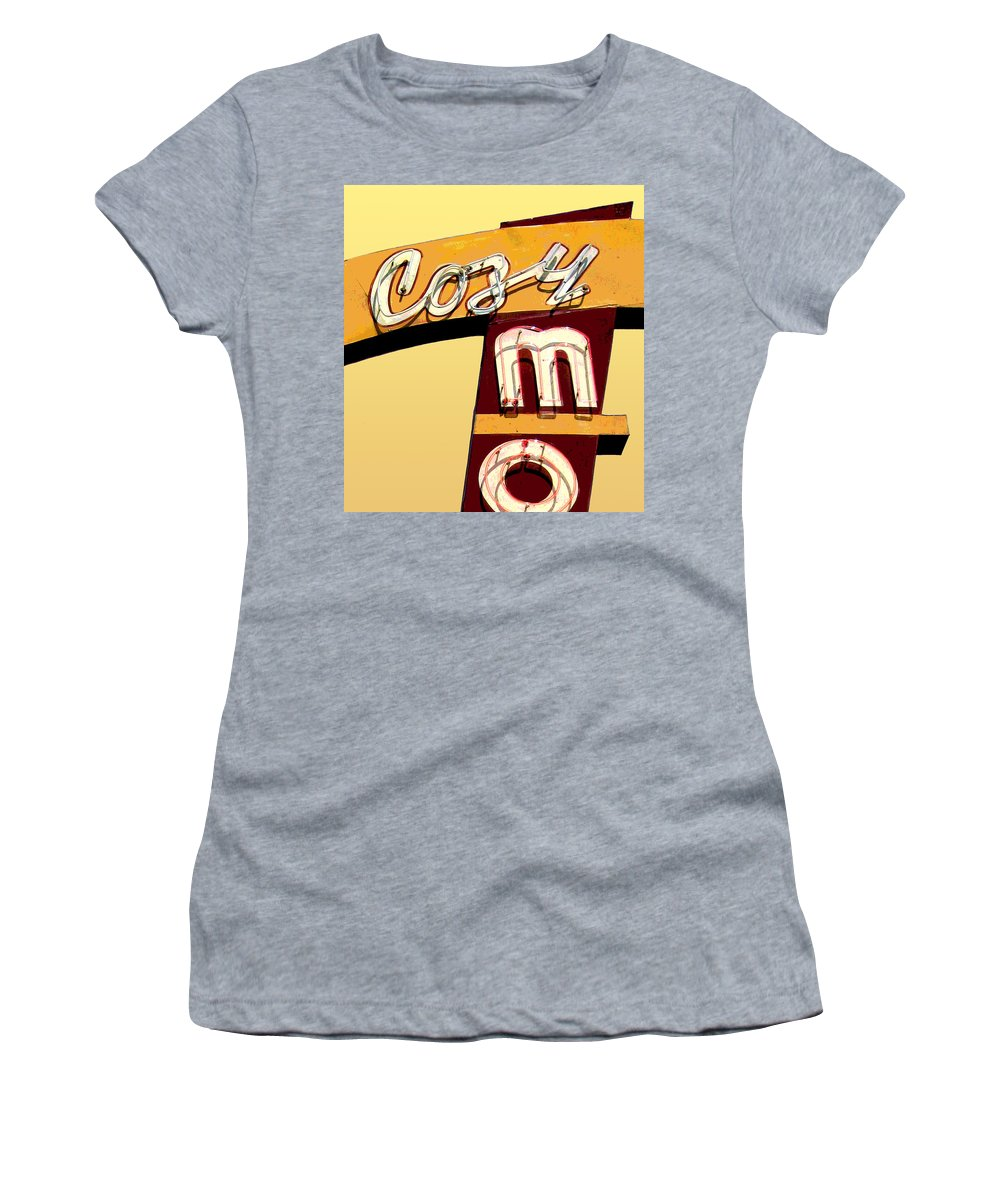 Mid Century Women's T-Shirt featuring the photograph Cozy Mo- Yellow by Larry Hunter