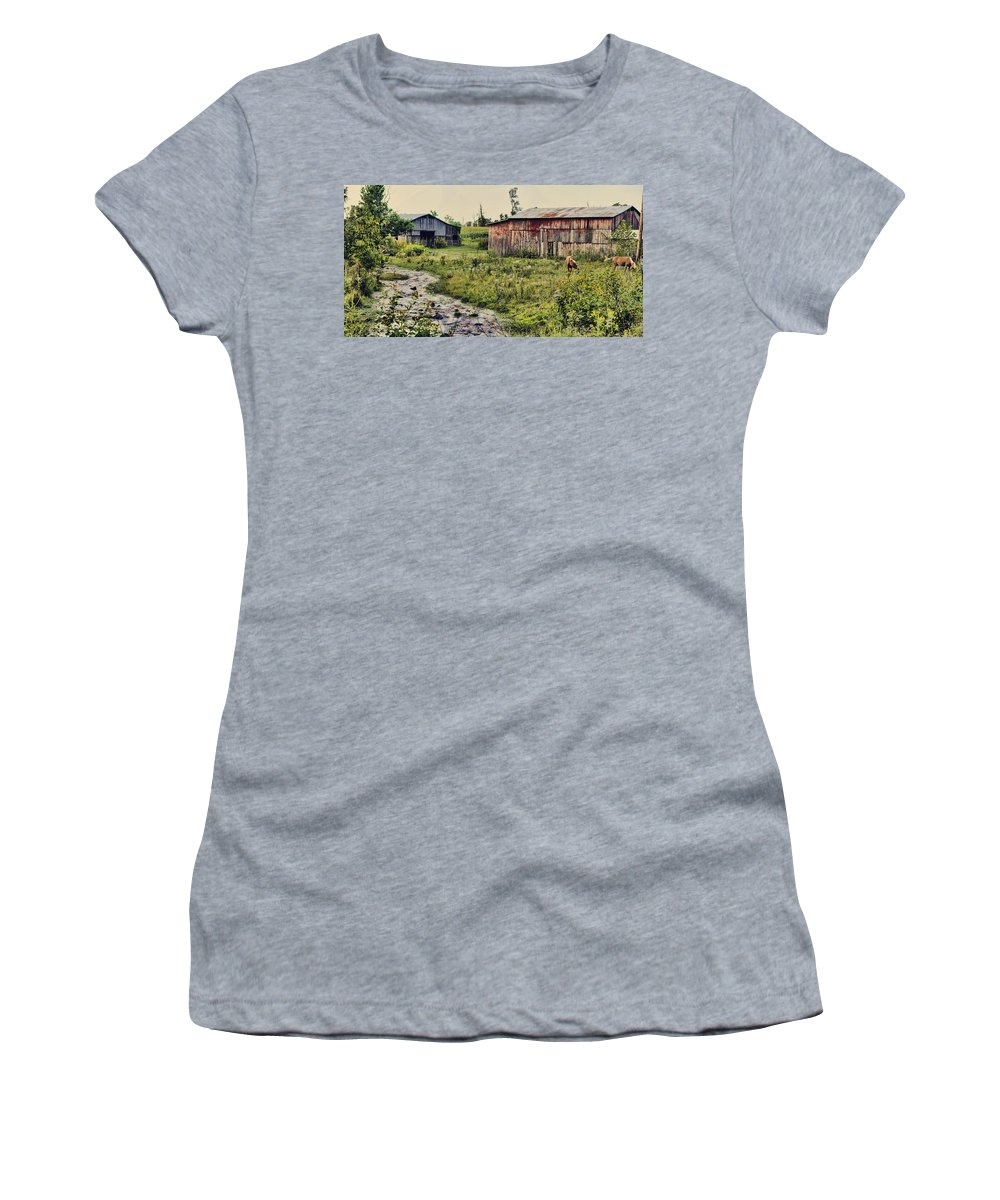 Rural Women's T-Shirt featuring the photograph Creekside by Heather Applegate