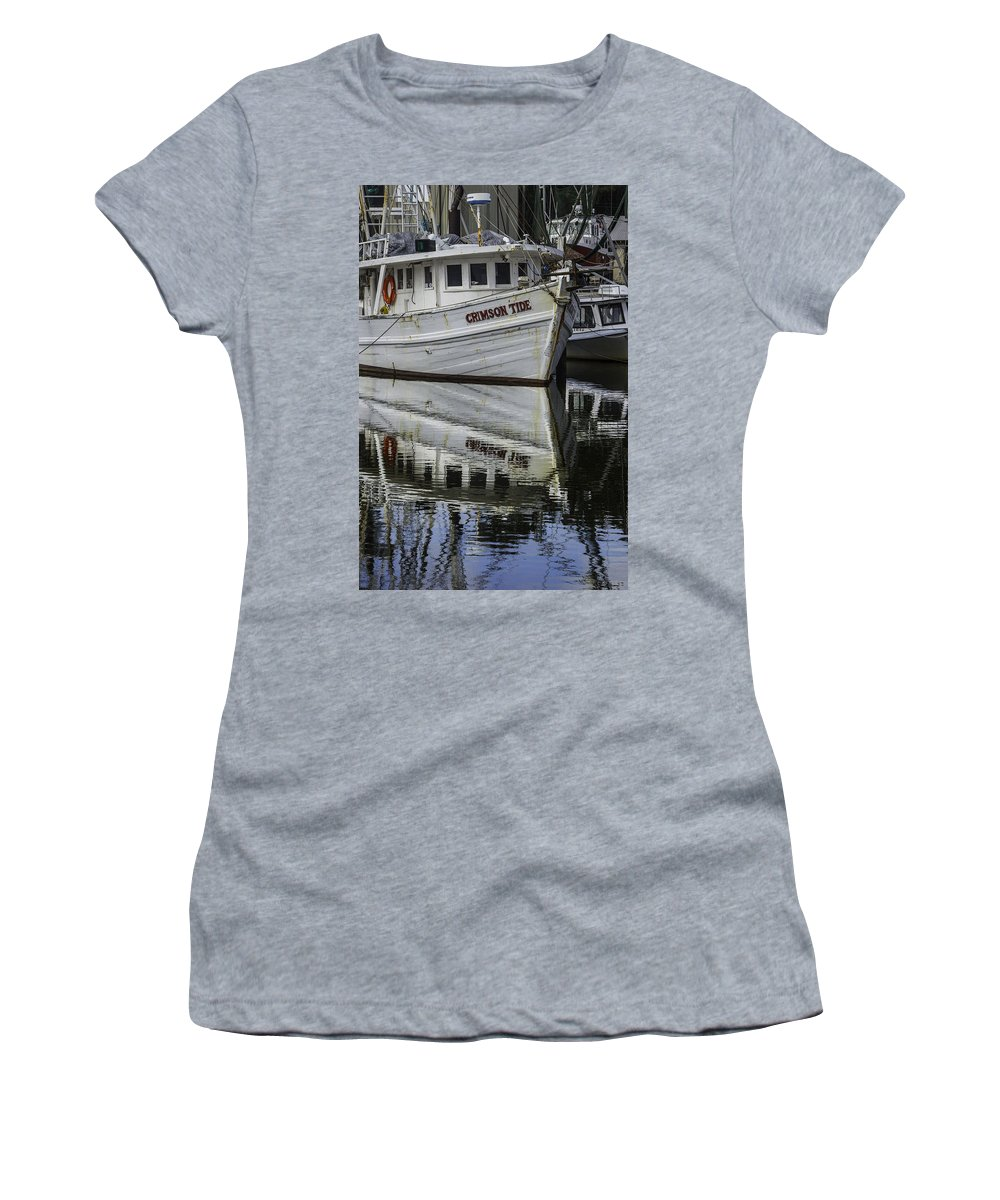 Palm Women's T-Shirt featuring the digital art Crimson Tide And Reflection by Michael Thomas