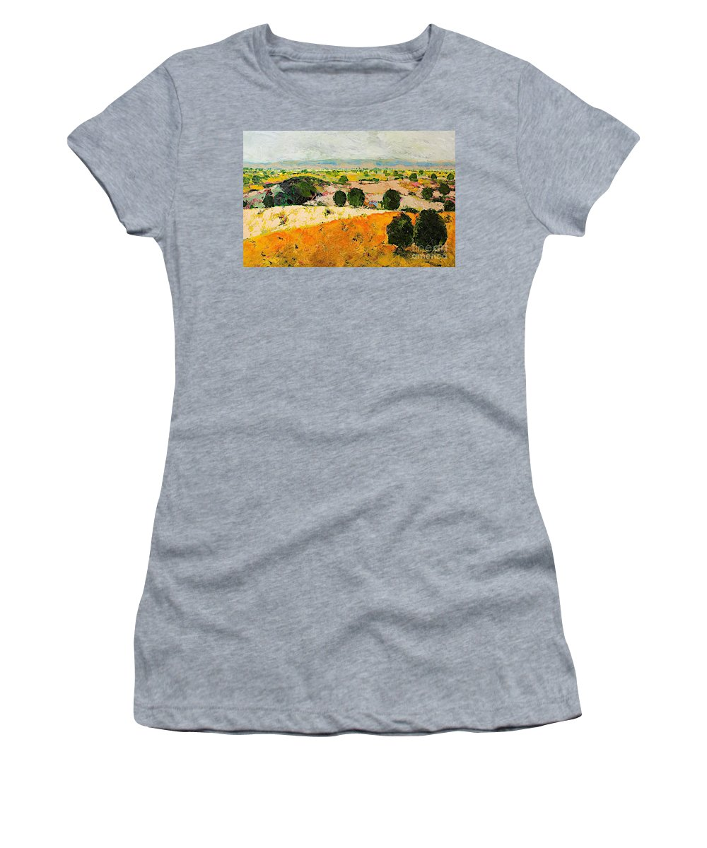 Landscape Women's T-Shirt (Athletic Fit) featuring the painting Crossing Paradise by Allan P Friedlander