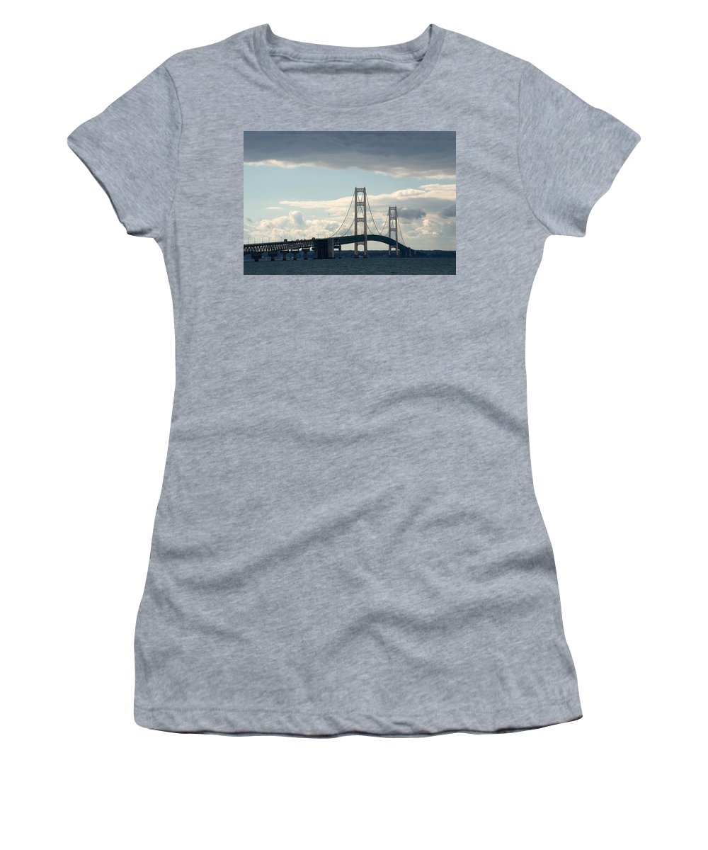 Clouds Women's T-Shirt (Athletic Fit) featuring the photograph Crossing The Bridge by Linda Kerkau