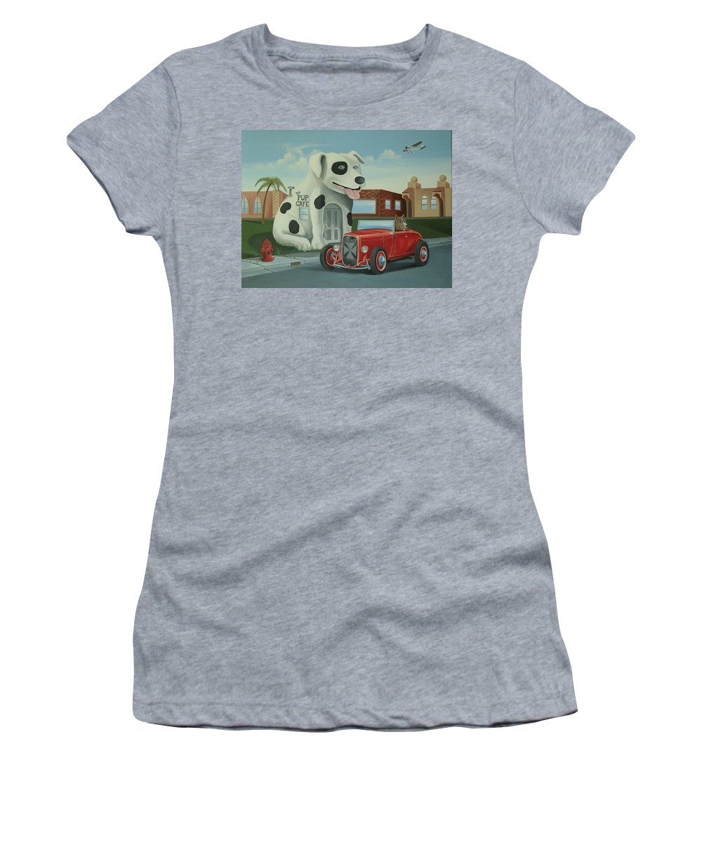 Hotrod Women's T-Shirt (Athletic Fit) featuring the painting Cruisin' At The Pup Cafe by Stuart Swartz
