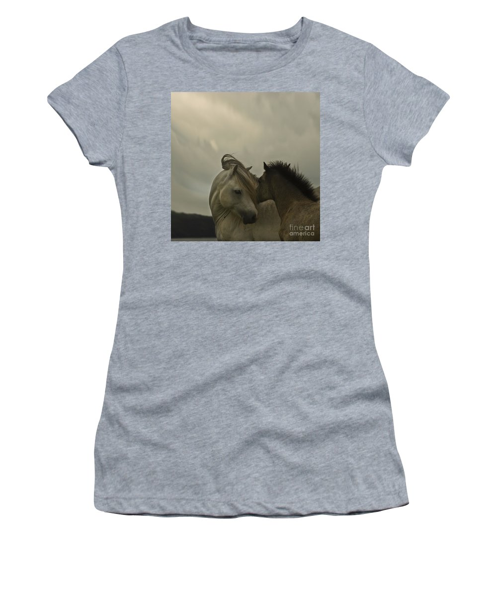 Horses Women's T-Shirt (Athletic Fit) featuring the photograph Cuddle Me by Angel Ciesniarska