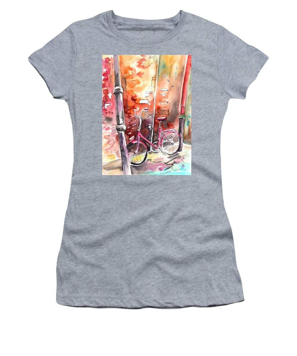 Italy Women's T-Shirt featuring the painting Cycling In Italy 02 by Miki De Goodaboom