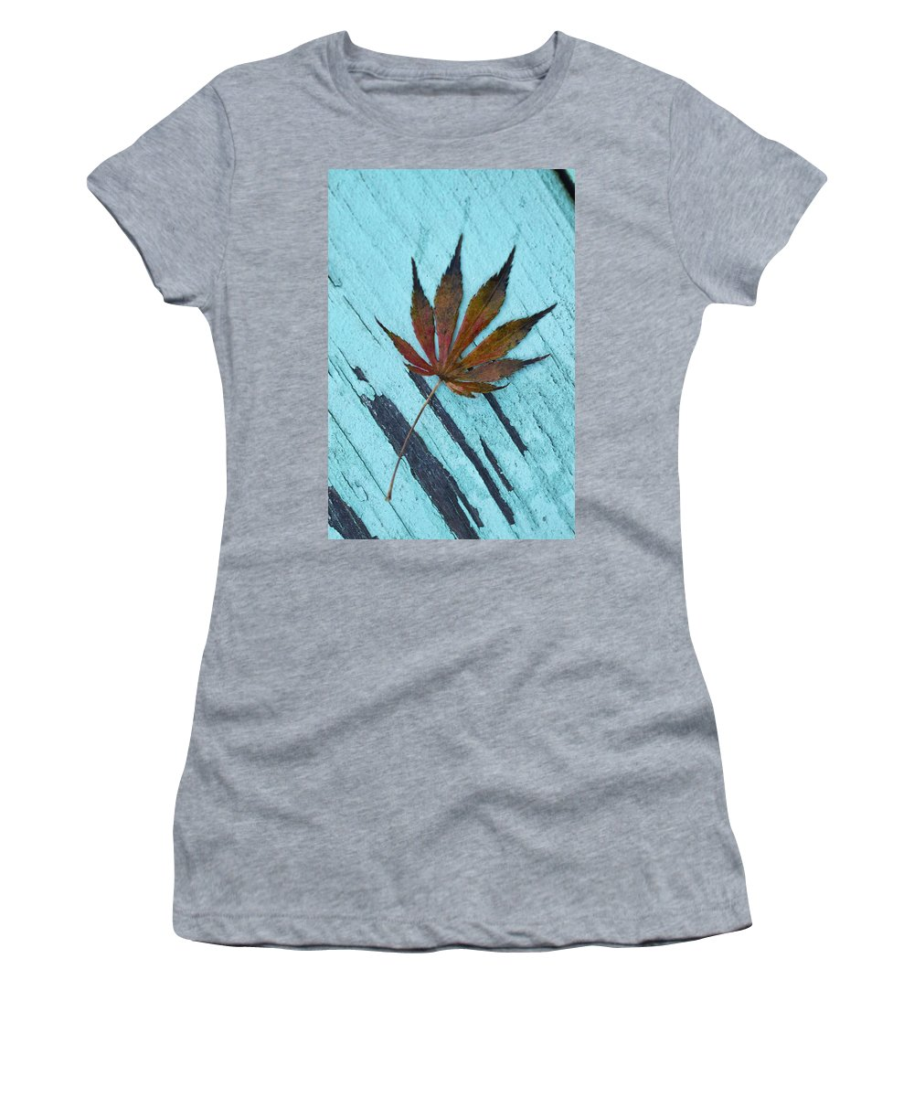 Acer Palmatum Women's T-Shirt featuring the photograph Dazzling Japanese Maple Leaf by Kathy Clark