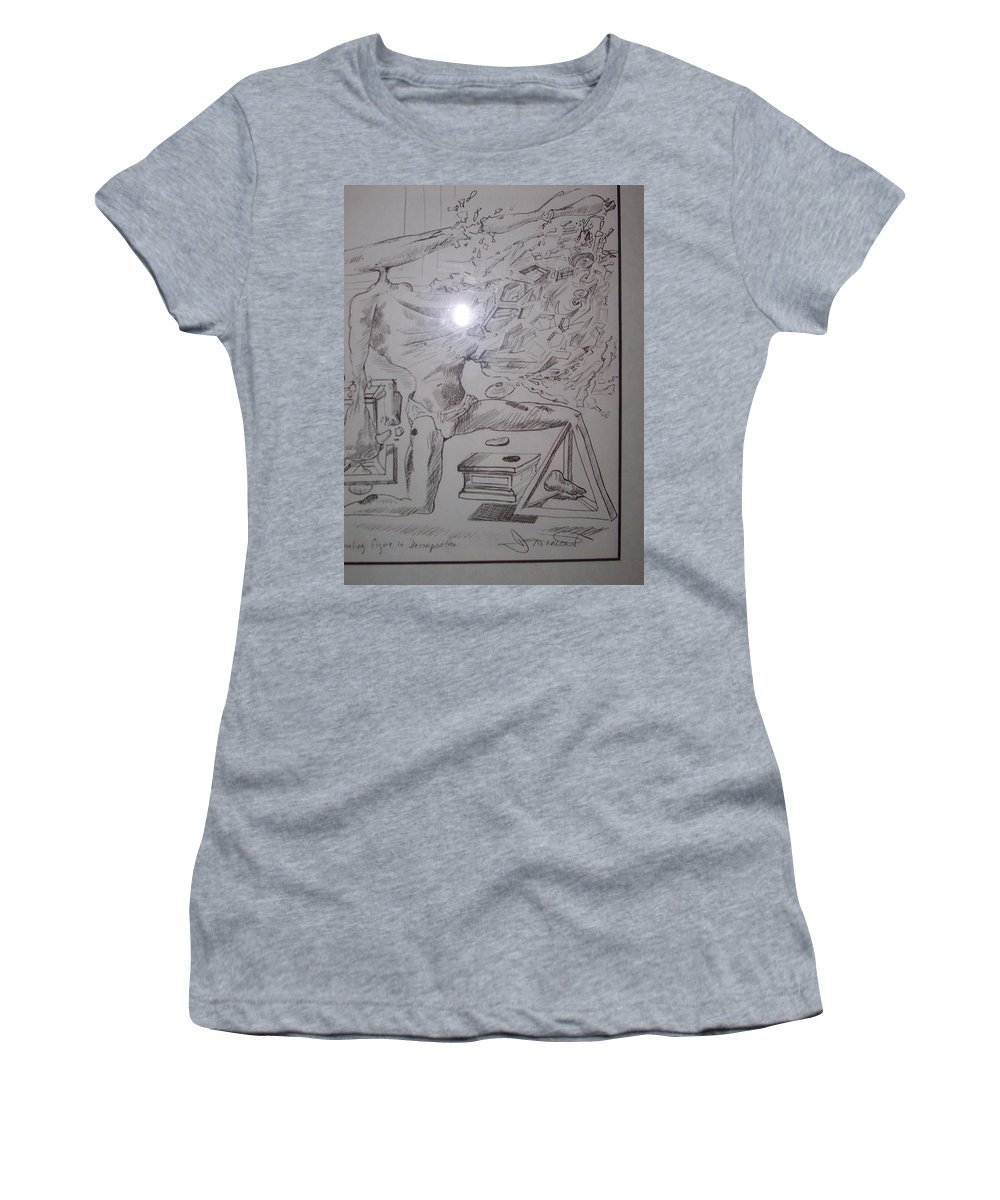 Women's T-Shirt (Athletic Fit) featuring the painting Decomposition Of Kneeling Man by Jude Darrien