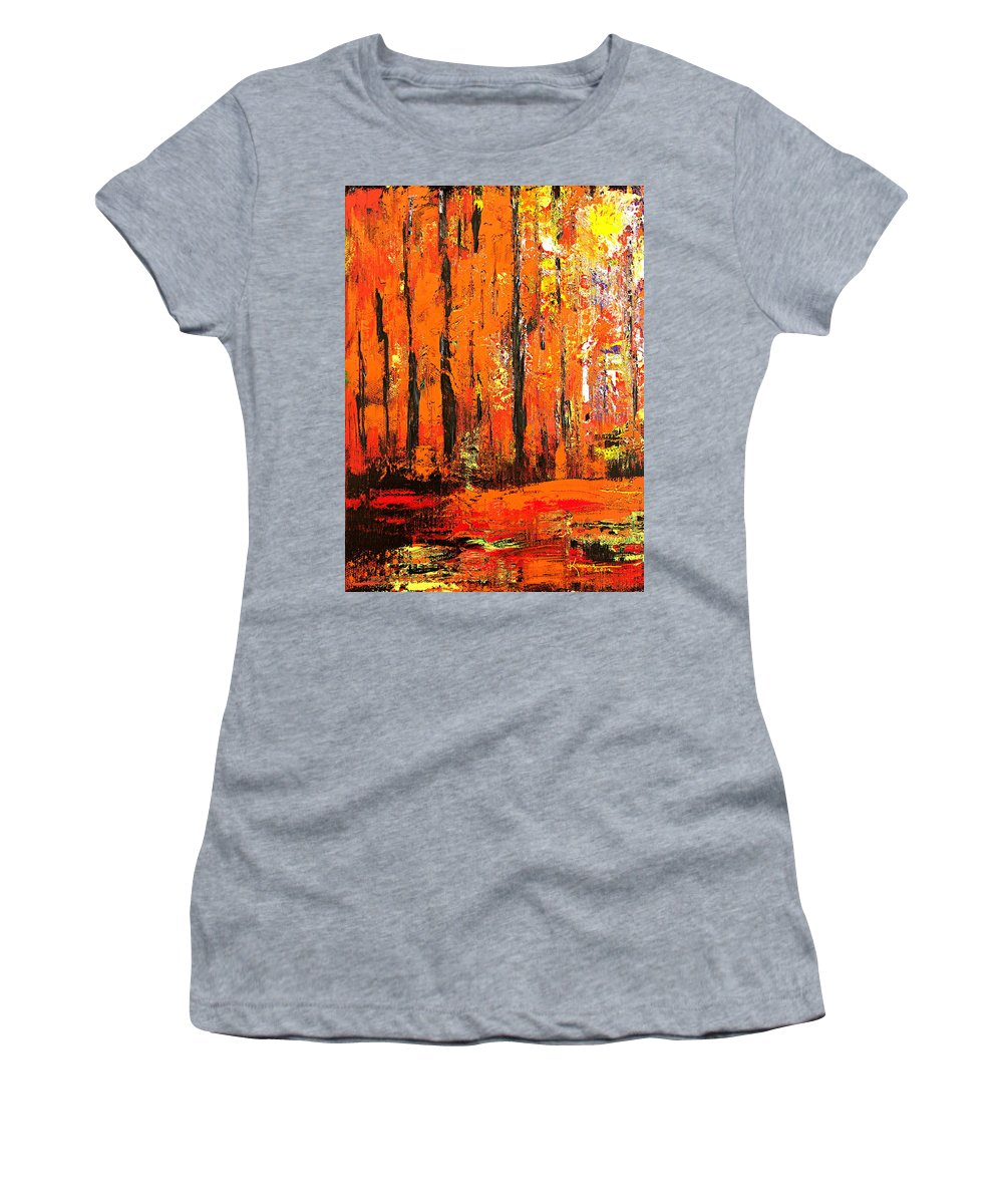 Autumn Forest Women's T-Shirt featuring the mixed media Deep In The Autumn Forest by Kume Bryant
