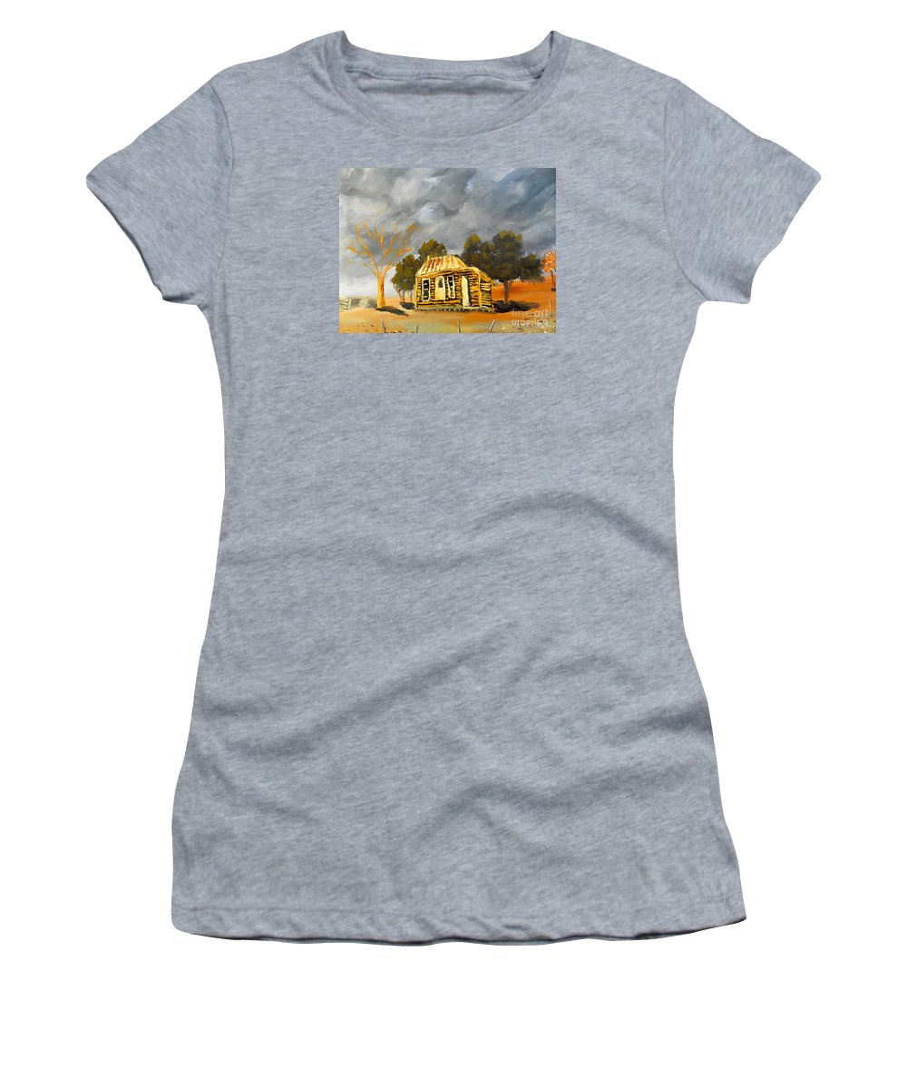 Impressionism Women's T-Shirt featuring the painting Deserted Castlemain Farmhouse by Pamela Meredith
