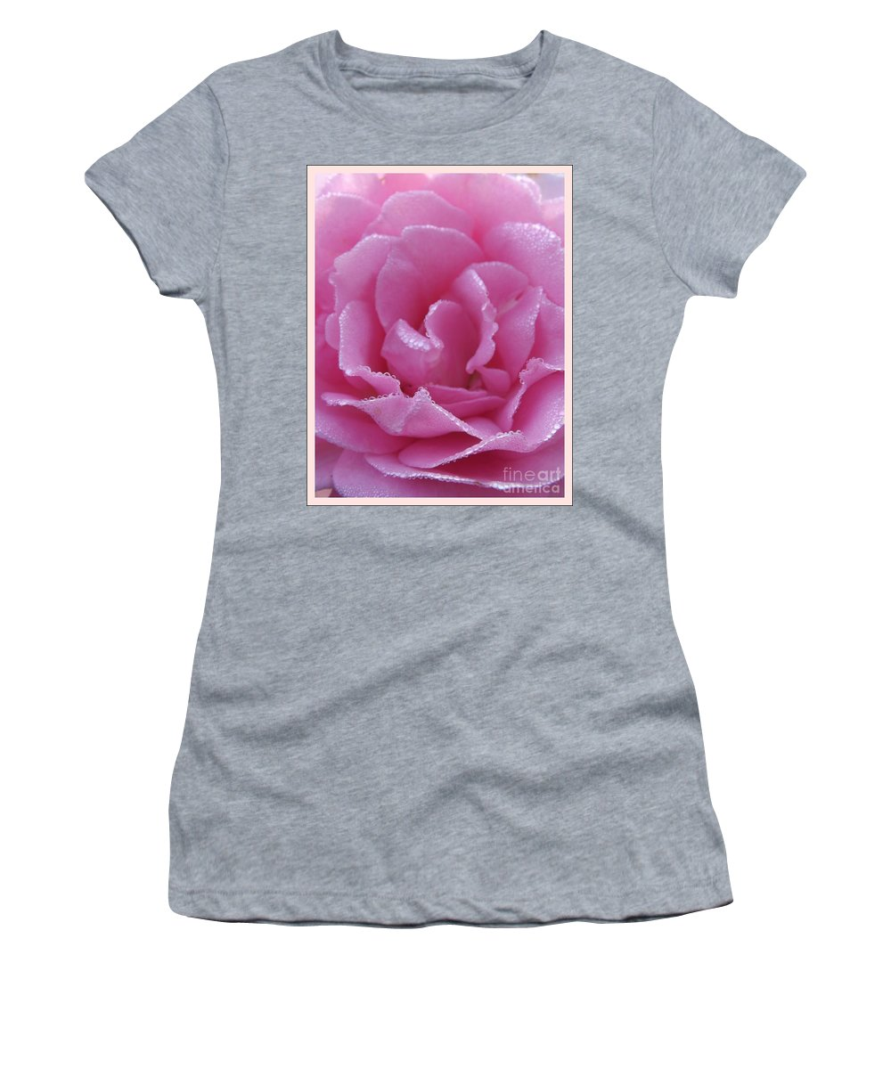 Dew Women's T-Shirt featuring the photograph Dew Kissed Rose by Sara Raber
