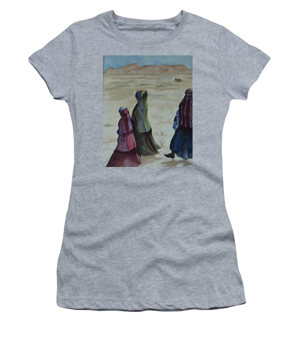 Walking From The Trading Post. People Women's T-Shirt (Athletic Fit) featuring the painting Dineh Leaving The Trading Post by Charme Curtin